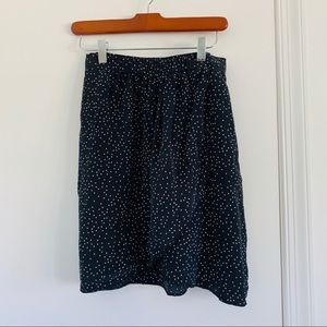 Madewell Faux Wrap Black Dotted Skirt